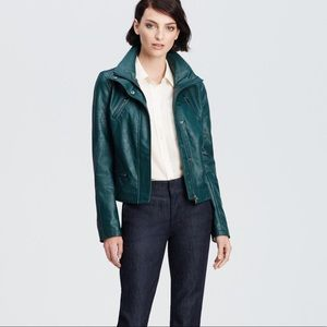 Ann Taylor Faux Leather Jacket - Forest Green